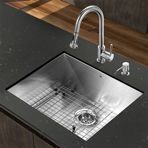 Kitchen Sink With Faucet Set Vigo Vg15344 All In One 23 Undermount Stainless Steel Kitchen Sink And Chrome Faucet Set