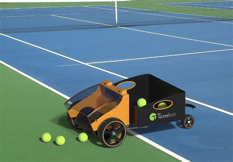 tennis ball collector tennibot will hunt for your tennis balls while you play