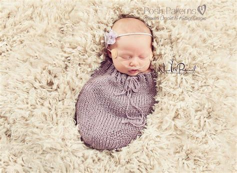 Cocoon Swaddle Blanket Tanpa Headband Bedong Instant 1 knitting pattern knit newborn swaddle sack pattern