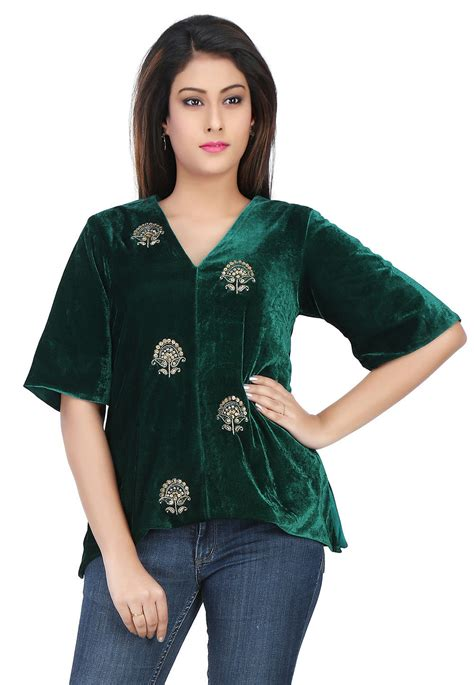 Embroidered Velvet Top embroidered velvet top in green thu1464