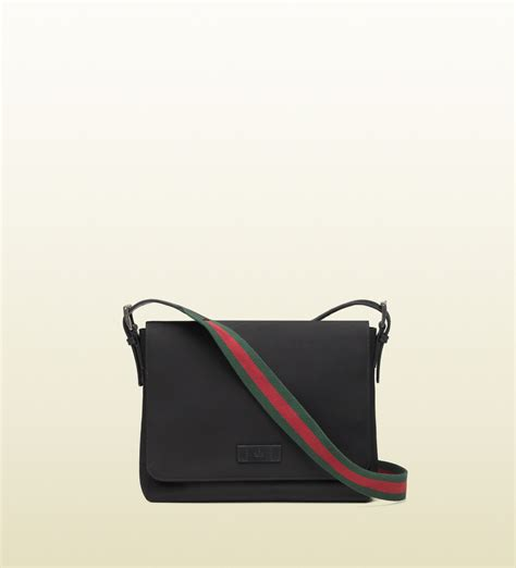 bags for gucci black techno canvas messenger bag in black for