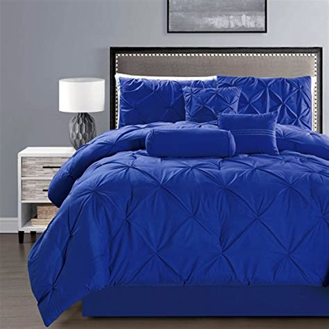 royal blue bed set 5 pieces double needle stitching pinch pleat solid royal