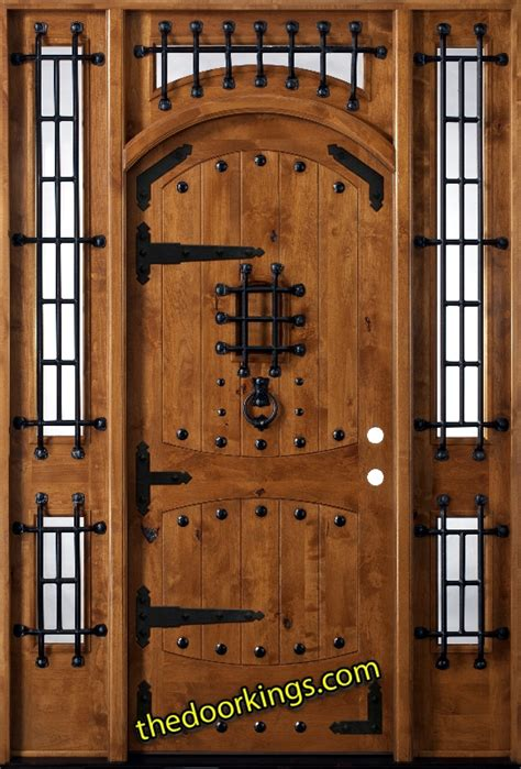 Wood Doors Exterior Entry Knotty Alder Exterior Entry Door With Sidelights And Transom Vienna Ebay