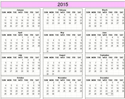 printable calendar 2015 small yearly 2015 printable calendar color weekday starts sunday