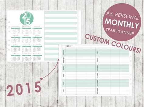 8 best images of 2015 filofax personal printable pages custom 2015 monthly year planner a5 personal by