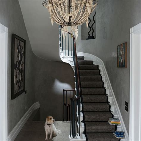 Modern Hallway Decorating Ideas by Grey Eclectic Hallway With Chandelier Decorating