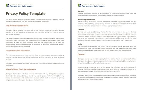 company privacy policy template privacy policy crafting and templates on