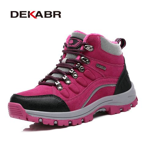 real leather outdoor hiking shoes plus velvet warm