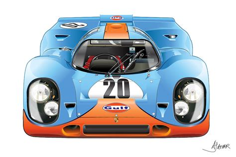 porsche 917 art porsche 917 gulf on white by alain jamar
