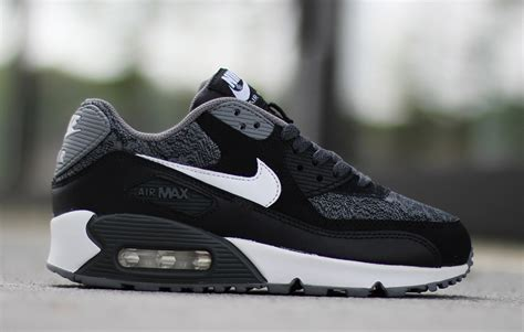 Nike Airmax 90 Woven Black White nike air max 90 gs woven white black grey sneakers madame