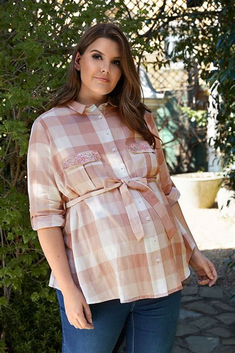 30769 Gray White Two Side bump it up maternity pink white checked shirt with