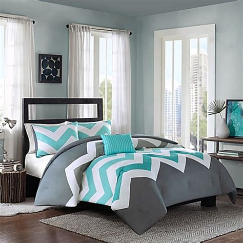 aqua and gray bedding cade reversible comforter set in aqua bedbathandbeyond com