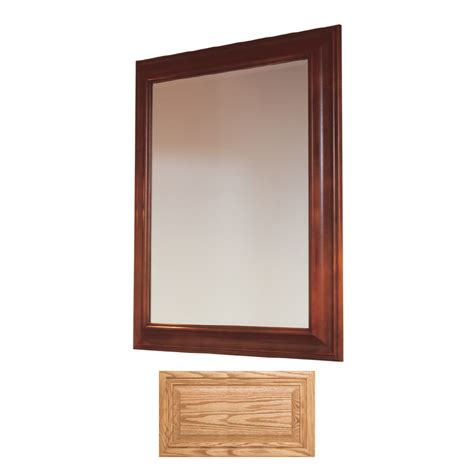 oak bathroom mirror shop insignia insignia 36 in h x 30 in w medium oak rectangular bathroom mirror at lowes com