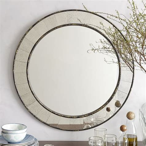 round bathroom light with layered glass pieces antique tiled round mirror west elm