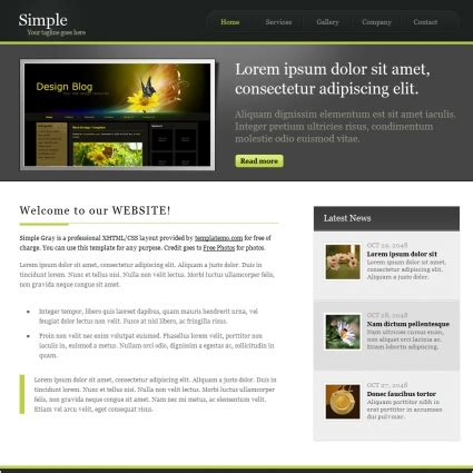 simple gray free website templates in css html js format