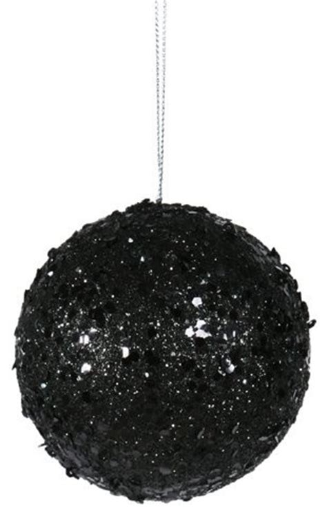 3 quot fancy black glitter drenched christmas ball ornament