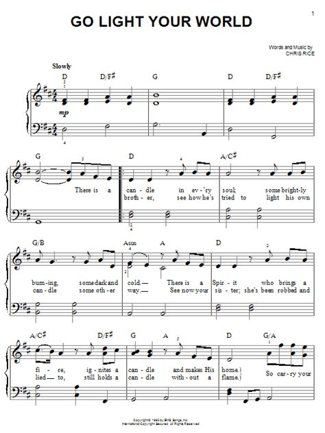 Go Light Your World Chris Rice by Go Light Your World Sheet For Piano Chords By