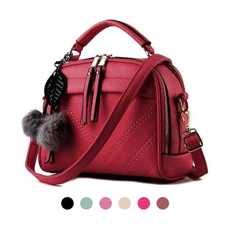 B81582 Tas Import Fashion Korea 500gr tas wanita import korean style a558 pompom pu leather 22x19 cm tp res ada elevenia