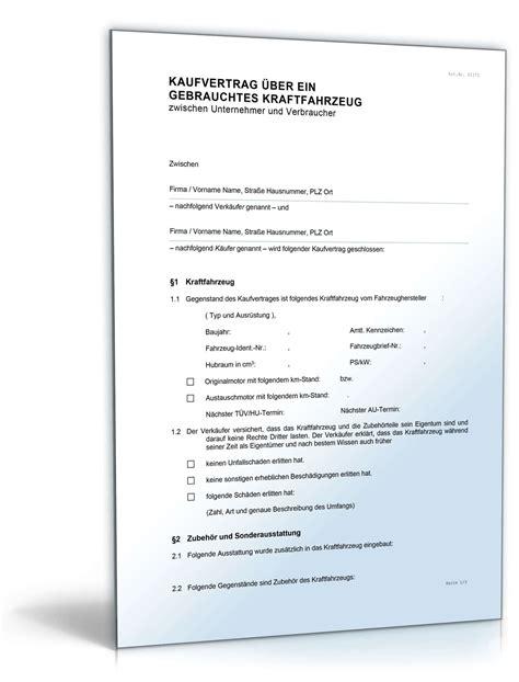 Kaufvertrag Auto Zwischen Unternehmen by Kfz Kaufvertrag Gewerblich Rechtssichere Vorlage Downloaden