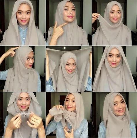 Tutorial Segi Empat Double | 30 contoh cara memakai jilbab segi empat terbaru 2017