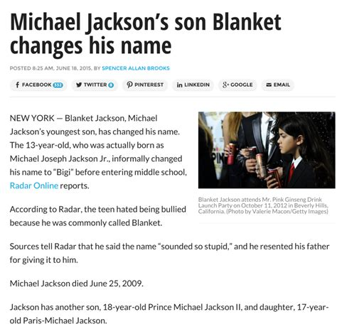 Michael Jackson Names Blanket by Ronald L Smith June 2015