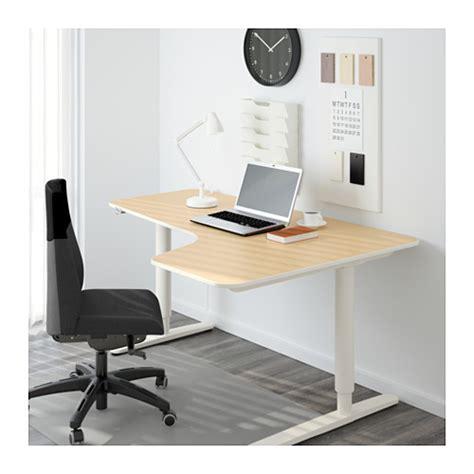 Birch Corner Desk Bekant Corner Desk Right Sit Stand Birch Veneer White 160x110 Cm Ikea