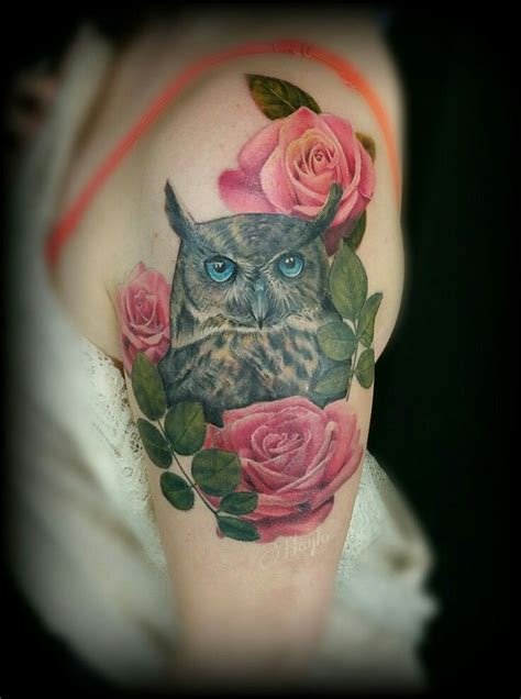 rose and owl tattoo best 25 owl sleeves ideas on owl thigh