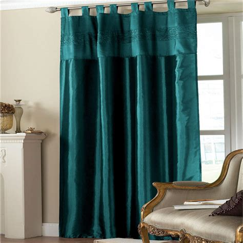 Teal Window Curtains Embroidered Taffeta Window Curtain Panel Teal Sequins 145