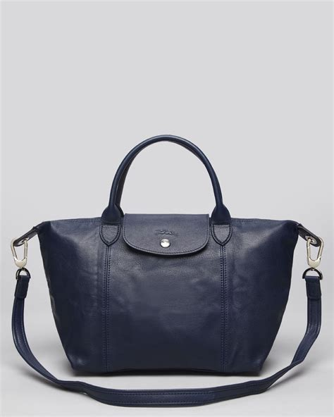 Longch Le Pliage Lucky Medium Handle Msh longch satchel le pliage cuir medium in blue lyst