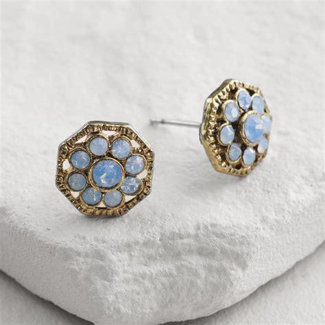 Blue Flower Stud Earrings Gold gold blue opal flower stud earrings world market