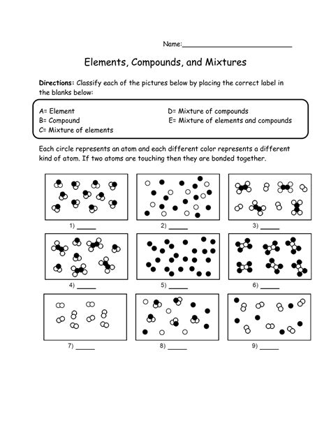 Element Compound And Mixture Worksheet by 17 Best Images Of Elements Compounds And Mixtures