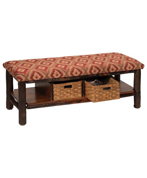 cedar log quilt bench in storage benches hickory log bench with two baskets amish direct furniture
