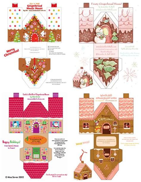 Paper Gingerbread House Craft - printable paper gingerbread houses and gingerbread on