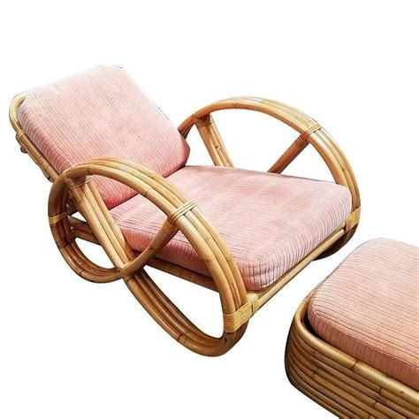 rattan chair with ottoman restored round full pretzel rattan lounge chair with