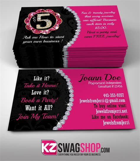 paparazzi jewelry business card template paparazzi business cards style 1 183 kz creative services