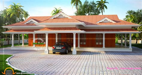 Single Floor 4 Bedroom House Plans Kerala beautiful luxurious one storied house kerala home design