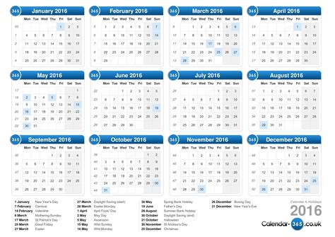 printable version of a 2016 calendar calendar 2016