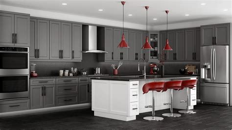 kitchens with grey cabinets shaker grey kitchen cabinets we ship everywhere rta easy