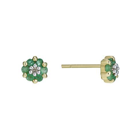 9ct gold emerald stud earrings h samuel