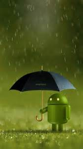 Android Robot In The Rain Black Umbrella Android Wallpaper