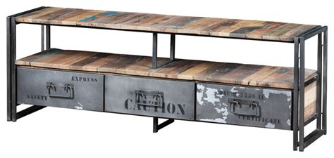 Industrial Metal Tv Cabinet by Three Drawer Tv Unit Made Of Recycled Boat Wood And