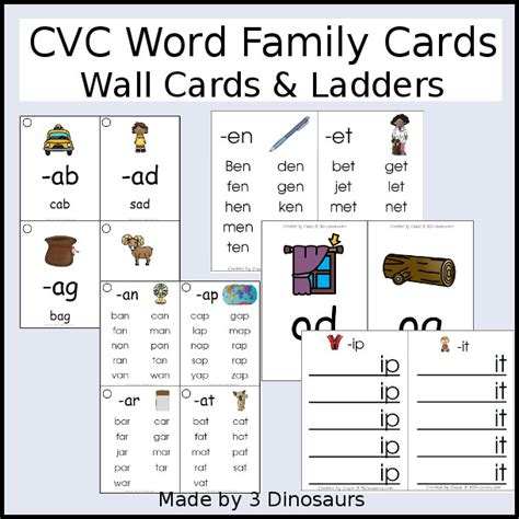 Word Family Cards Printable free cvc word family wall cards 3 dinosaurs