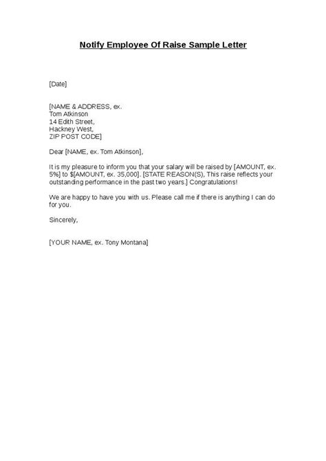 Raise Letter To Employee Business Letter Template Pay Increase Sle Business Letter