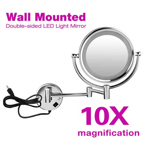 10x magnification dual side wall mount lighted cosmetic