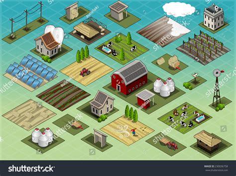 Rural Development Address Lookup Isometric Building Farm Elements Set Rural Farm City Map