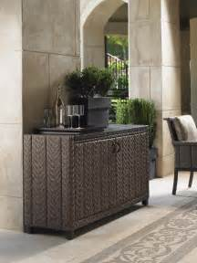 Outdoor Console Table With Storage Bahama Outdoor Living Blue Olive Wicker Buffet Console Table