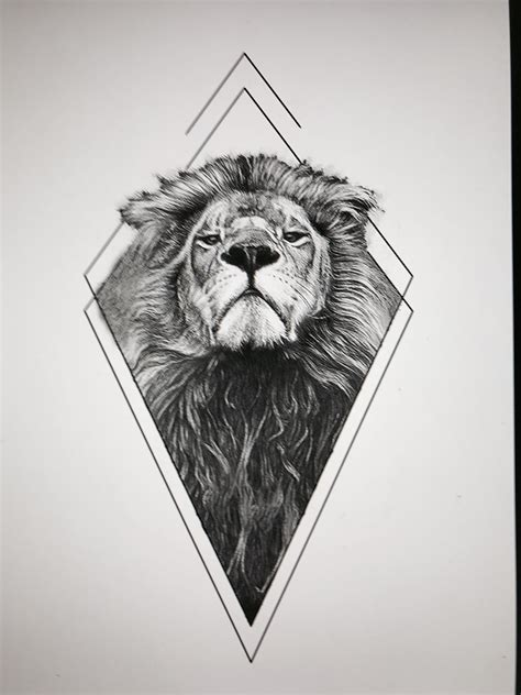 lion geometric tattoo eae consegue fazer 3 tattoos
