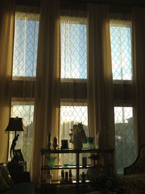 Interior Design Tips tall window with silk and sheer panels interior design