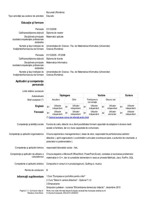 format cv europass romana model cv romana elev image collections certificate
