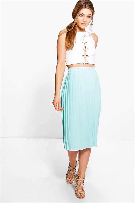 Chiffon Midi Pleated Skirt boohoo womens aura chiffon pleated midi skirt ebay